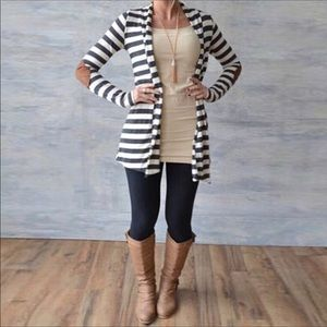 Boutique Sweaters - New! 🌼Striped Elbow patch cardigan